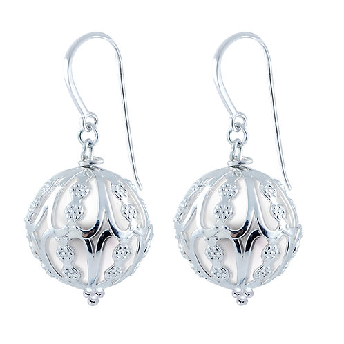 Silver Cage Freshwater Pearl Earrings 13-15MM