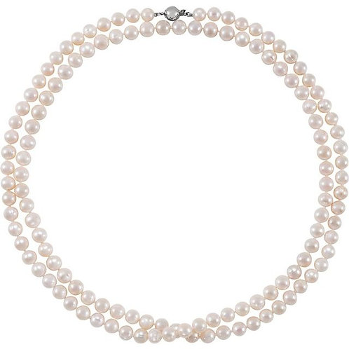"""42"""" """"Double Strand"""" 8-9MM Pearl Necklace Sterling Silver Clasp"""
