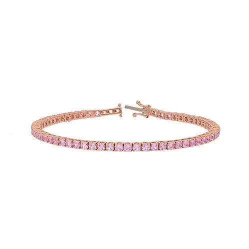 Sapphire & Rose Gold Tennis Bracelet
