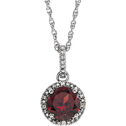 Sterling Silver and Diamond Mozambique Garnet Necklace