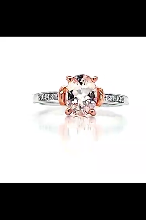 Morganite Oval and Diamond Ring in Sterling Silver