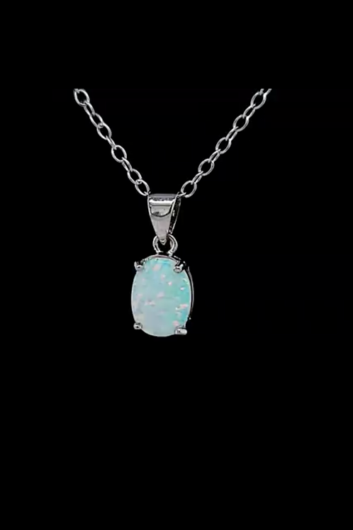"Opal Pendant 18"" Sterling Silver Necklace"
