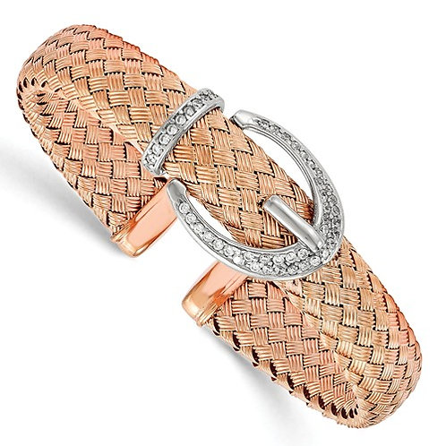 Rose Gold Plated over Sterling Silver Mesh Bracelet with CZs