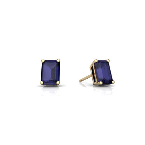 Emerald Cut Sapphire Studs in 14kt