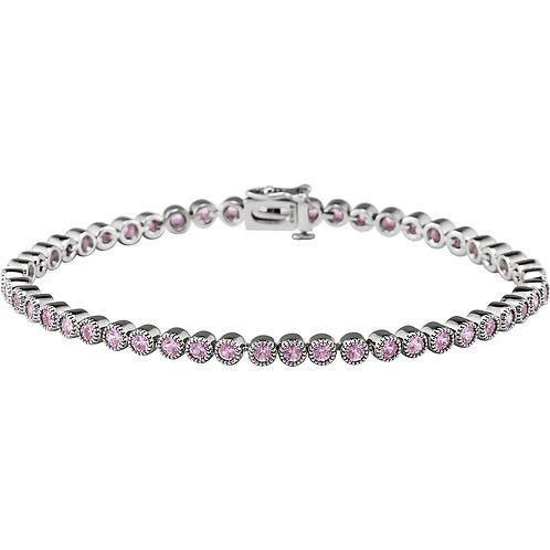 "14K White Pink Sapphire 7.25"" Line Bracelet"