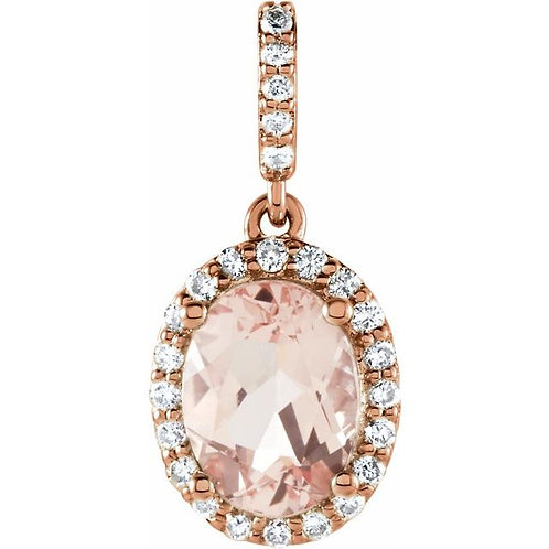 Morganite & Diamond Pendant in Rose Gold