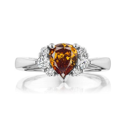Pear-Shaped Orange Diamond Ring with White Diamonds