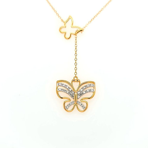 Diamond Accented Adjustable Butterfly Necklace 18kt Plated Sterling Silver
