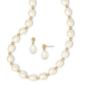 14kt 7-8MM Pearl and Earing Set 14kt Yellow Gold