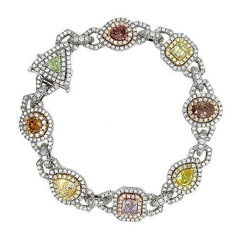 Multicolor Natural Fancy Color Diamond Bracelet in Platinum