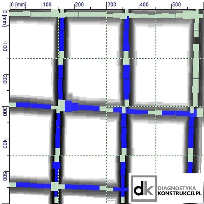 Skan obrazowy konstrukcji (Imagescan) po analizie w oprogramowaniu. Oszacowane są średnice prętów zbrojeniowych, rozstaw i otulenie.