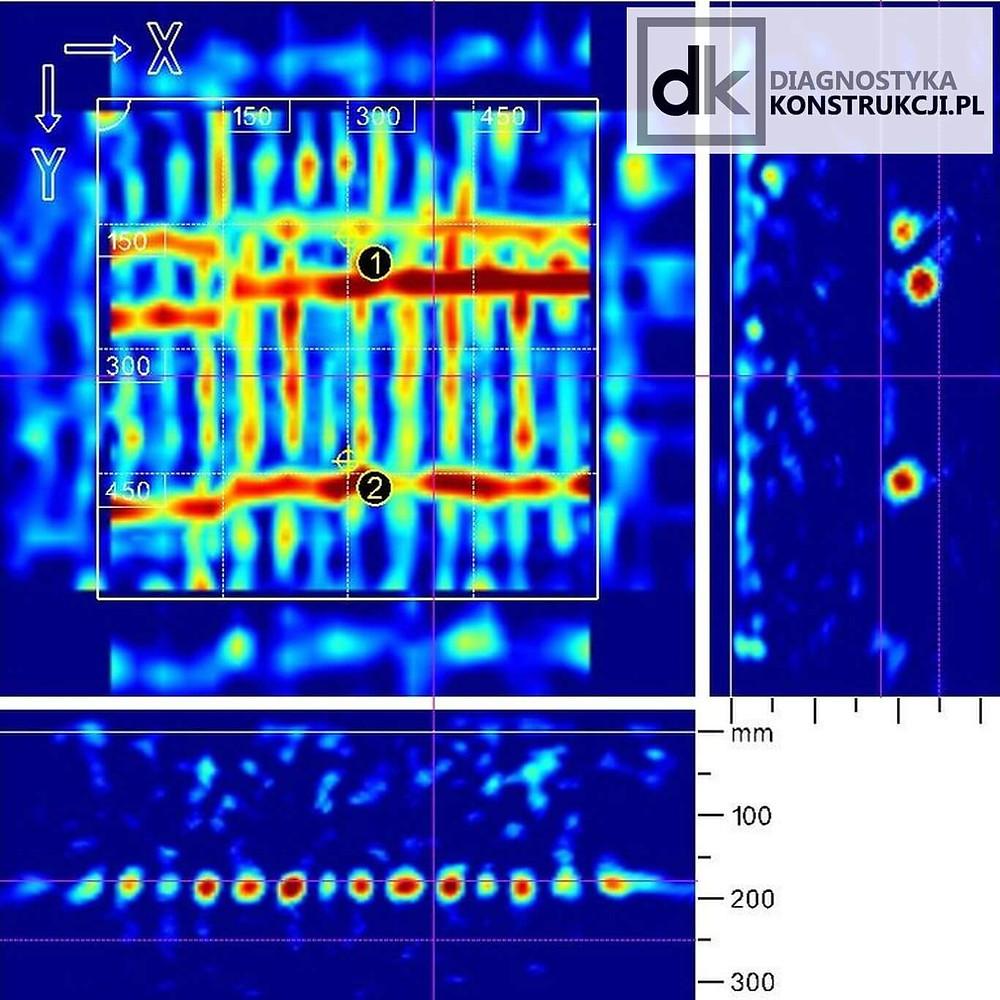 Skan obrazowy konstrukcji (Imagescan) uzyskany georadarem Hilti PS1000
