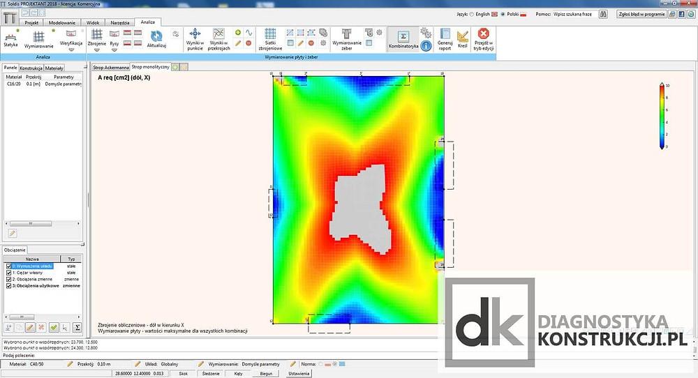 Obliczenia statyczne sprawdzające stropu w programie Soldis Projektant - mapa brakującego zbrojenia