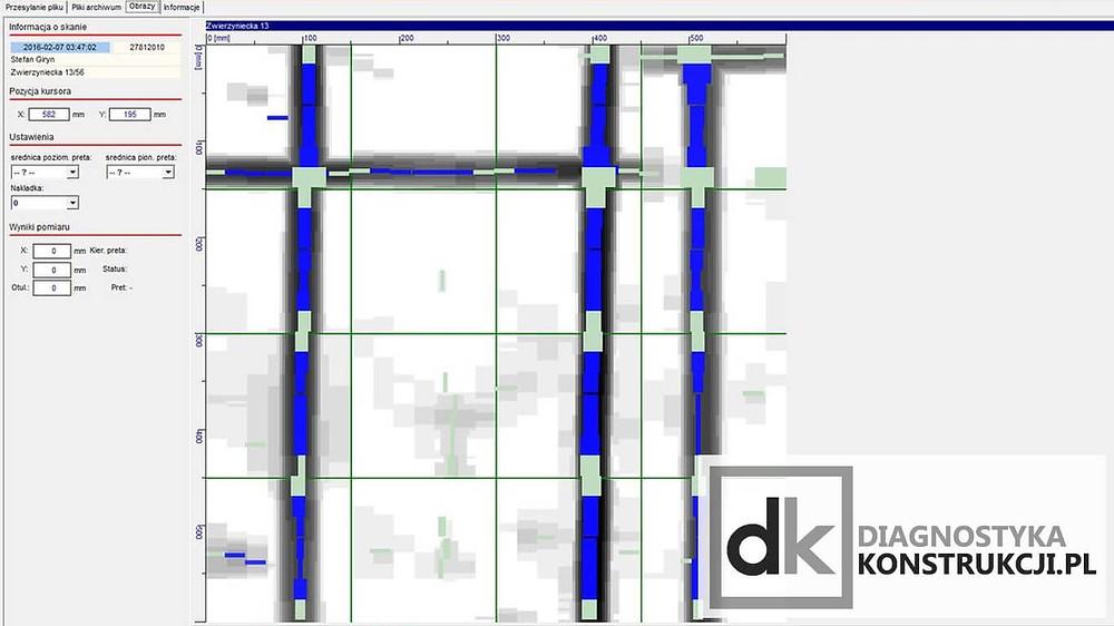 Skanowanie konstrukcji stropu z płyt kanałowych - łączenie prefabrykatów, skan obrazowy