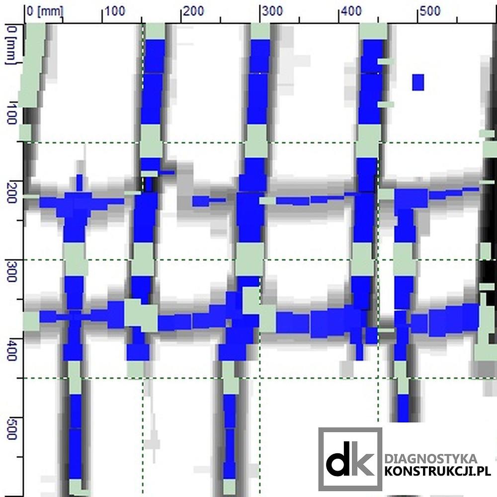 Wykonany systemem lokalizacji i detekcji Hilti Ferroscan skan konstrukcji po analizie w oprogramowaniu