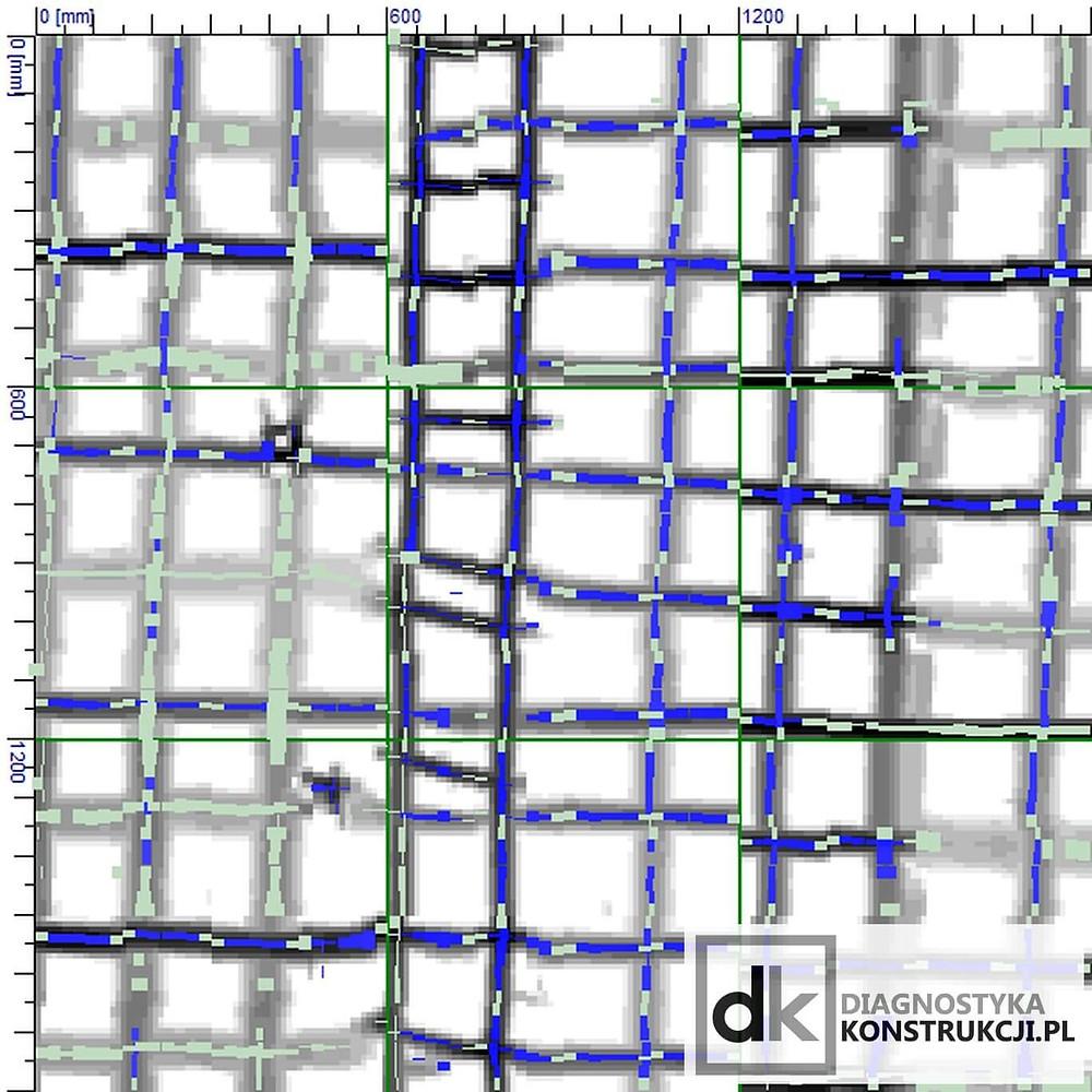Skan blokowy (BlockScan) 180x180cm wykonany skanerem konstrukcji Hilti Ferroscan PS200