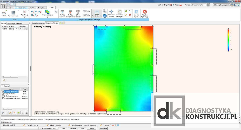Obliczenia statyczne sprawdzające stropu w programie Soldis Projektant - momenty zginające zredukowane