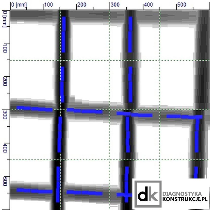 Skan obrazowy konstrukcji (Imagescan) po korekcji o wartości pomierzone empirycznie wykonaniem punktowej odkrywki zbrojenia.