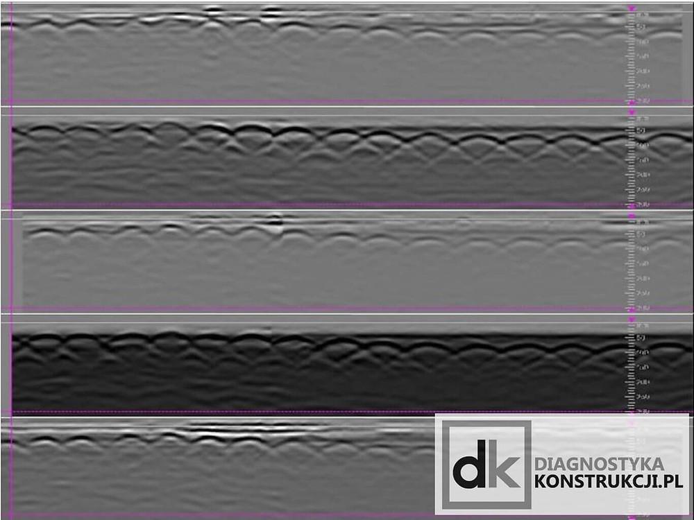 Widoczne pięć profili georadarowych oraz różnice między nimi uzyskanych przy jednym przejeździe skanera Hilti X-Scan PS1000