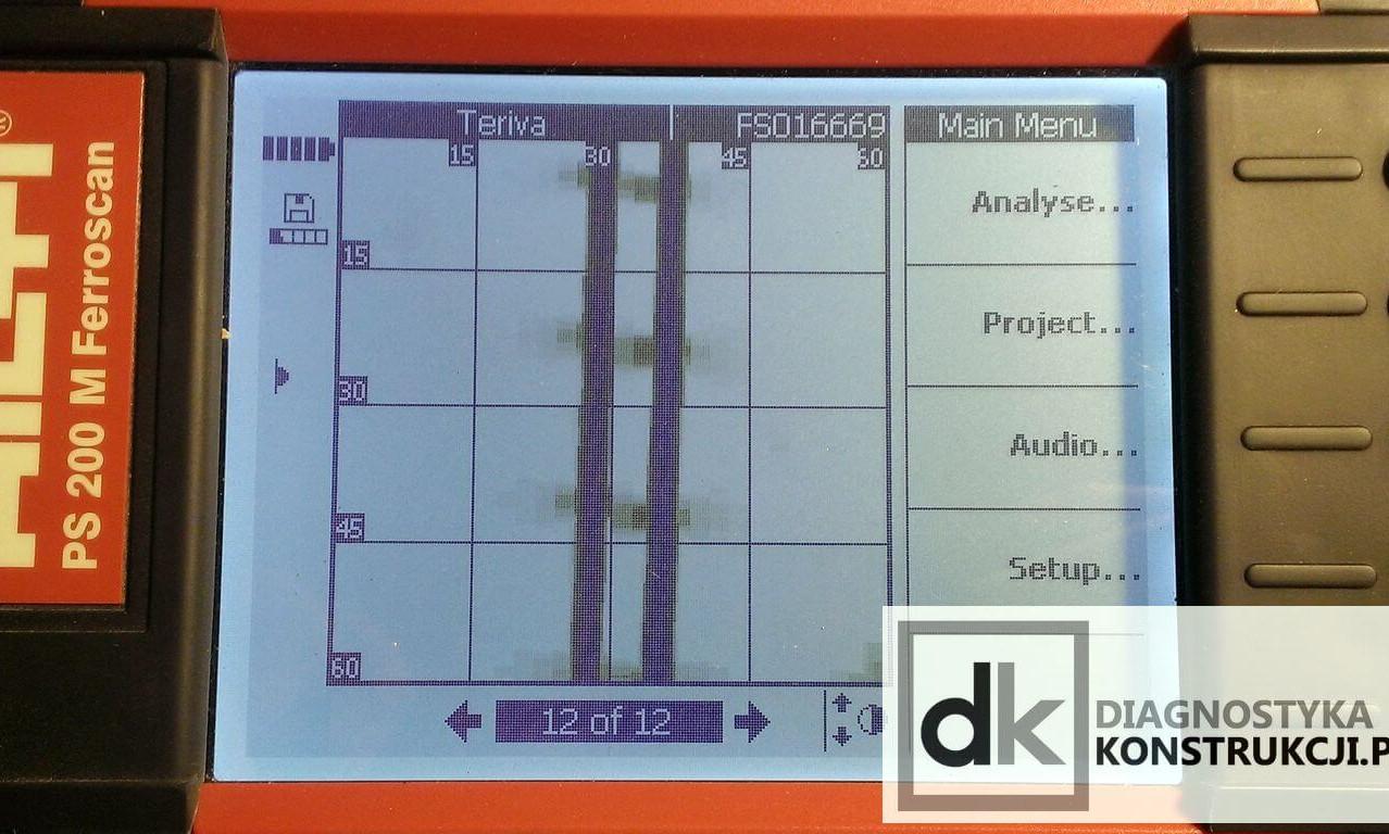 Na skanie obrazowym (ImageScan) stropu gęstożebrowego wykonanym Ferroscanem da się zauważyć wyłącznie pręty główne belki stropu Teriva oraz zaobserwować miejsca łączenia krzyżulców kratownicy.