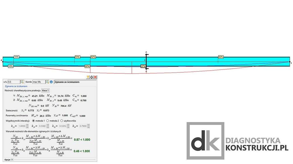 Obraz przedstawia wykonywanie obliczeń statycznych sprawdzających dla stropu o płycie żelbetowej opartej na belkach stalowych