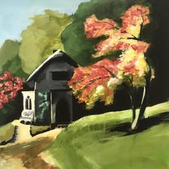 Autumn Sun catches the cottage