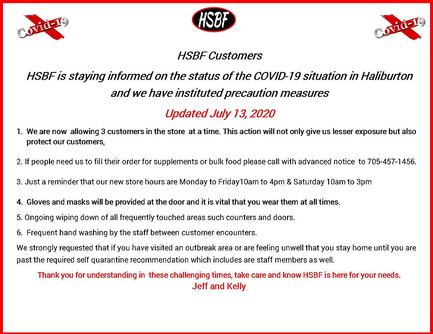 HSBF Covid 19 Precautions updated July 1