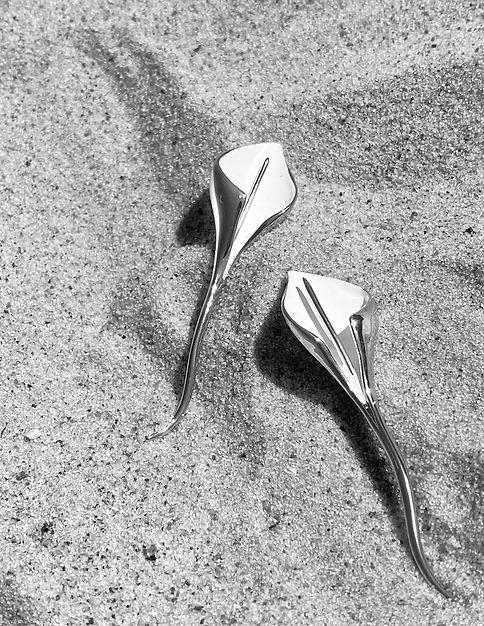 White Lily Earrings-LakooDesigns