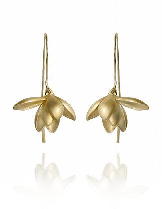 Gold Magnolia Earrings, Bride Jewelry, simple bride, wedding style, flower earrings, gold flower, summer style 2020