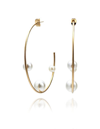 Gold Hoop earrings, Pearl Earrings, LakooDesigns, big hoop, bride earrings, modern bride, wedding style