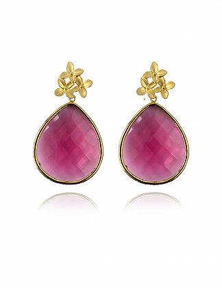 flower earrings, pink jewelry, mothers day, gift for mom, fushcia, garden, drop earrings, lakoodesigns