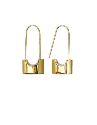 gold padlock, padlock earrings, fahion earrings, vancouver style, sexy mom, leather, short hair