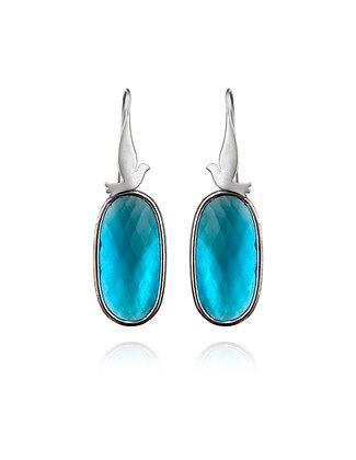 silver bird earrings, bird earrings, blue earrings, blue jewelry, lakoodesigns, aquamarine, blue topaz
