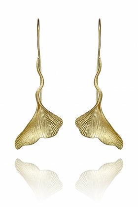 Gold Ginkgo,ginkgo Earrings, Bohemian Style, leaf earrings, summer look, summer 2020, fashion 2020, beach style