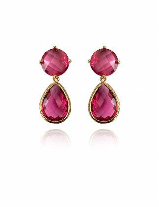 ruby, ruby earrings, fuchsia, dangling earrings, lakoodesigns, summer fashion 2020