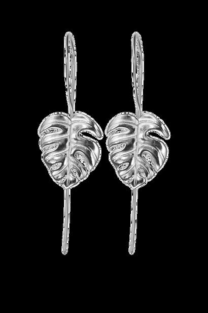 Silver Monstera Leaf Earrings