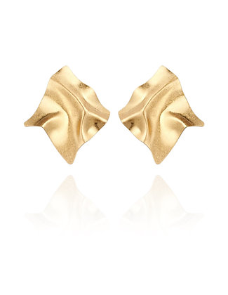 Gold Fashion statement Earrings, LakooDesigns, big earrings, folded earrings, abstract design, sexy look, sexy summer, beach