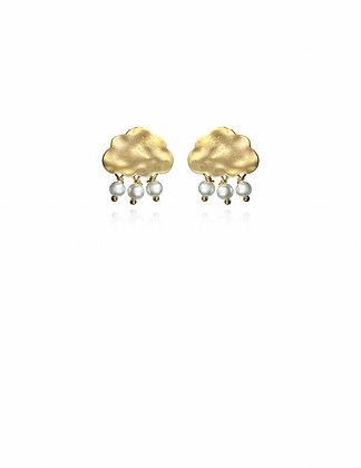 Gold Snow Cloud Earrings