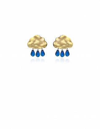 Gold  Cloud Rain Cobalt Earrings