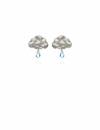 Silver Rain Drop Cloud Earrings