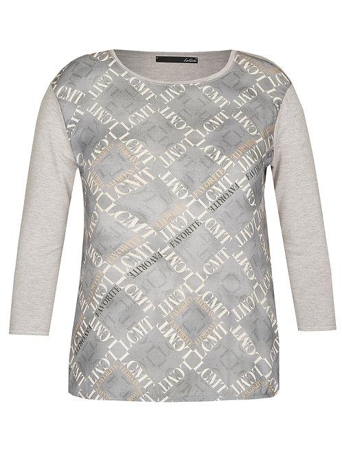 grey top blouse chandail gris imprimé