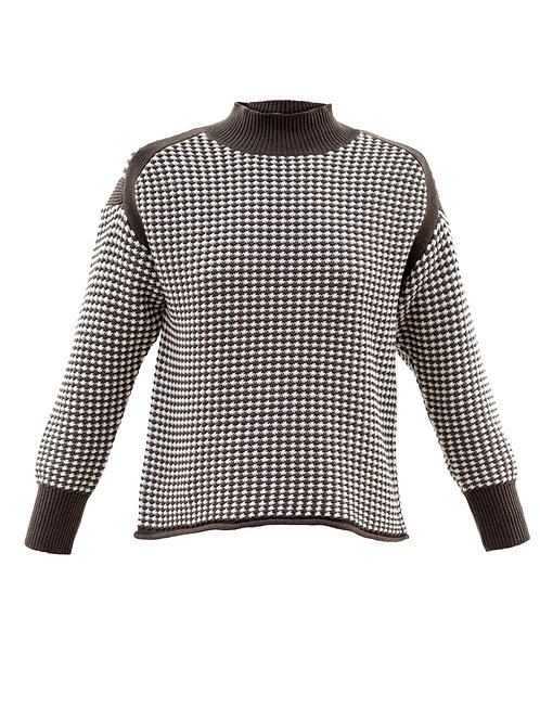 marble houndstooth sweater mock neck