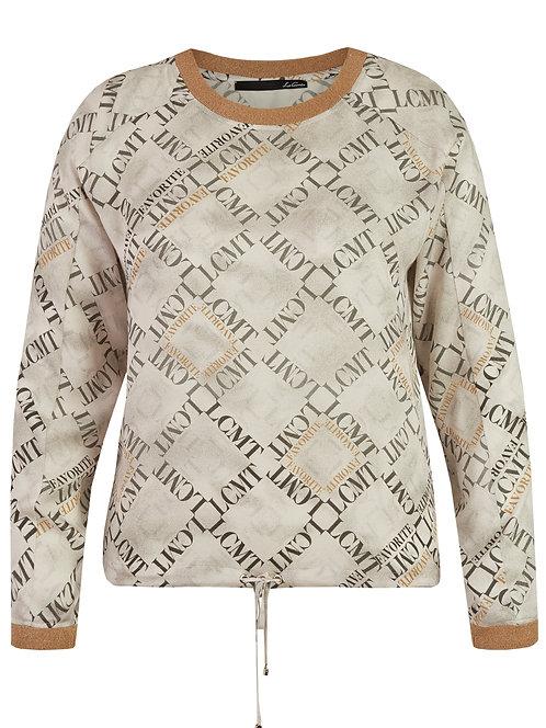crewneck blouse top beige tan printed