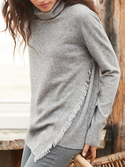 col roulé Repeat Frange En laine et cashmere- fringe wool grey turtleneck