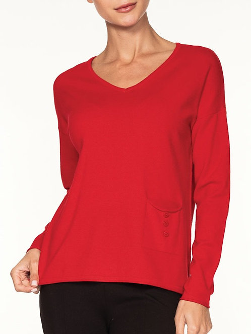 V-neck red sweater
