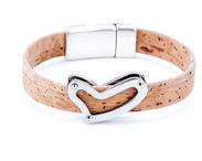 Beige Cork Bracelet with Heart
