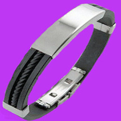 STAINLESS STEEL SILICON  BAND ID BRACELET $22