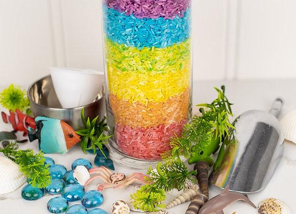 Under the Sea Rainbow Rice Sensory Bin
