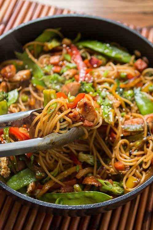 Teriyaki Chicken and Vegetables with Noodles (a full meal).