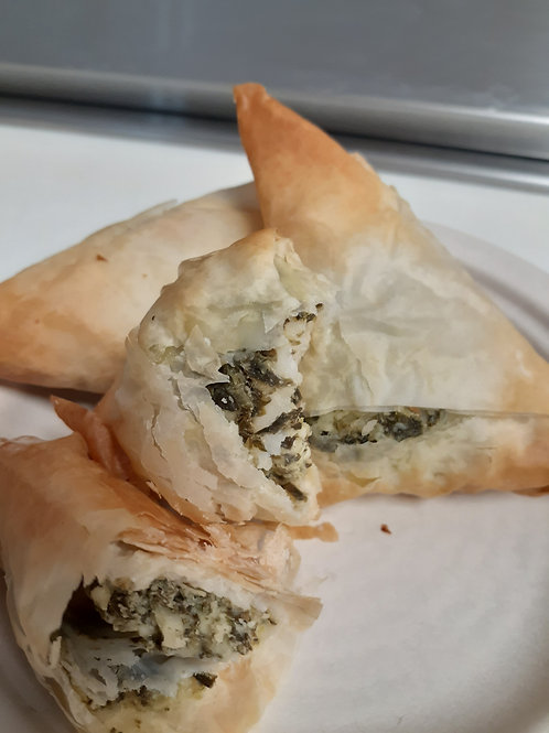 Home delivery spanakopita from Angelina's Kitchen in Pittsboro, NC